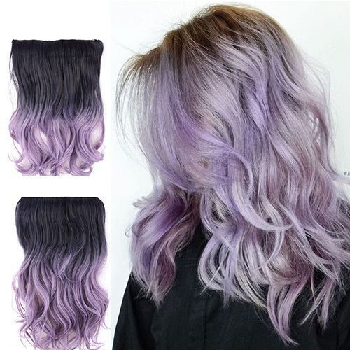 14 20 Ombre Black To Lilac Pastel Lavender Purple Flip In Wire Hair Extension Pastel Lilac Hair Light Hair Color Lilac Hair Color
