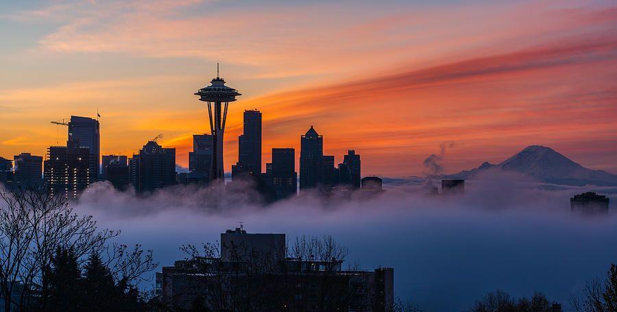 A City Emerges Seattle Photography Sunrise Skyline