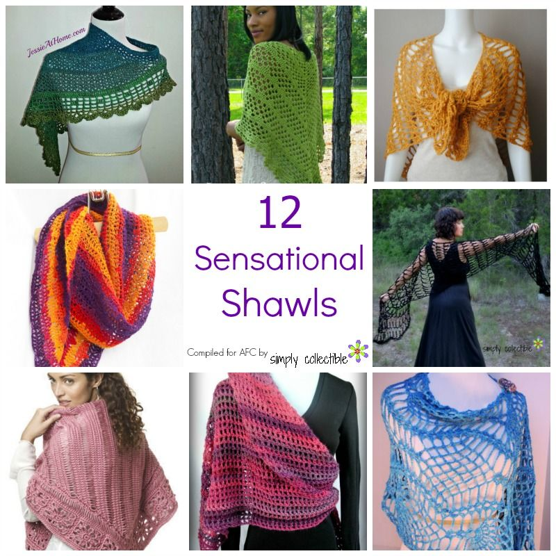 12 Sensational Shawls. A collection of the best light and lacy free crochet shawl patterns.