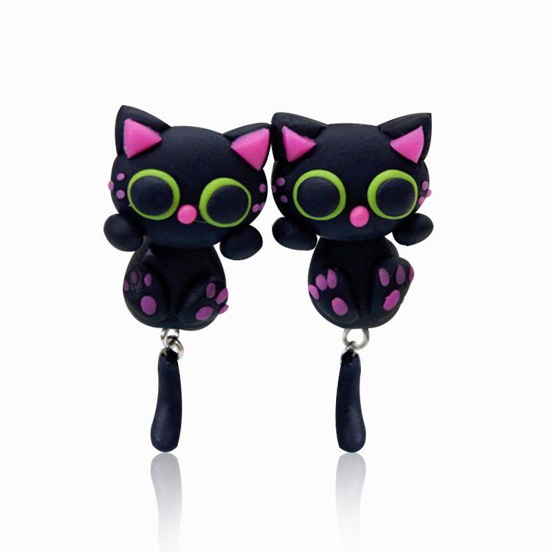 2017 패션 검은 고양이 귀걸이 수제 폴리머 클레이 귀걸이 만화 핑크 귀 DIY 동물 스터드 귀걸이