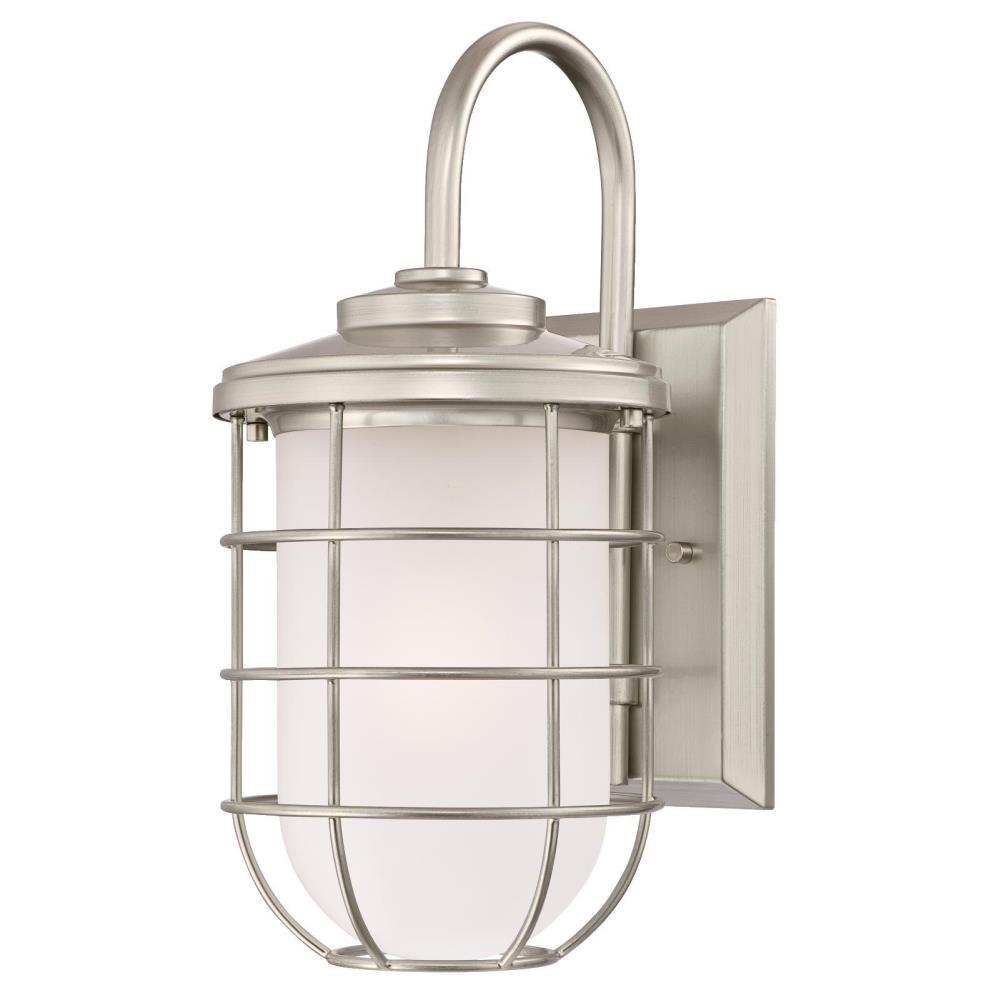 Westinghouse Ferry 1 Light Brushed Nickel Outdoor Wall Lantern Sconce 6348000 The Home Depot Wall Fixtures Outdoor Wall Lantern Wall Lantern