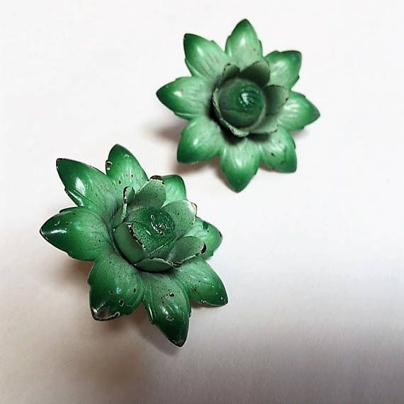 Vintage Curtain Tacks Green Metal Flowers Pair for Curtain Large ...