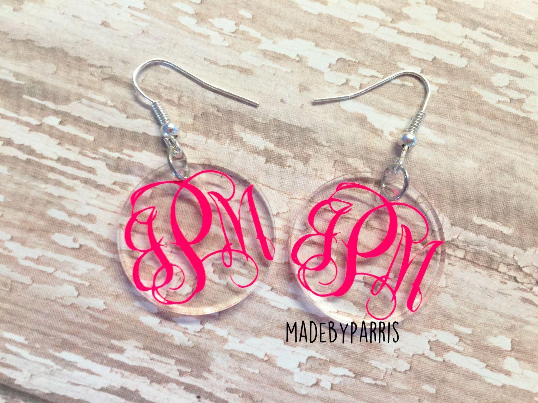 Monogram Acrylic Dangle Earrings Monogram Earrings Vine Monogram Dangle Earrings Acrylic Earrings Gift Idea Monogram Earrings Vine Monogram Monogram Box