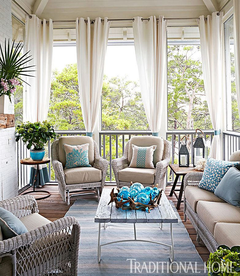 How to create an inviting outdoor room drapery panels for Screened in porch decor