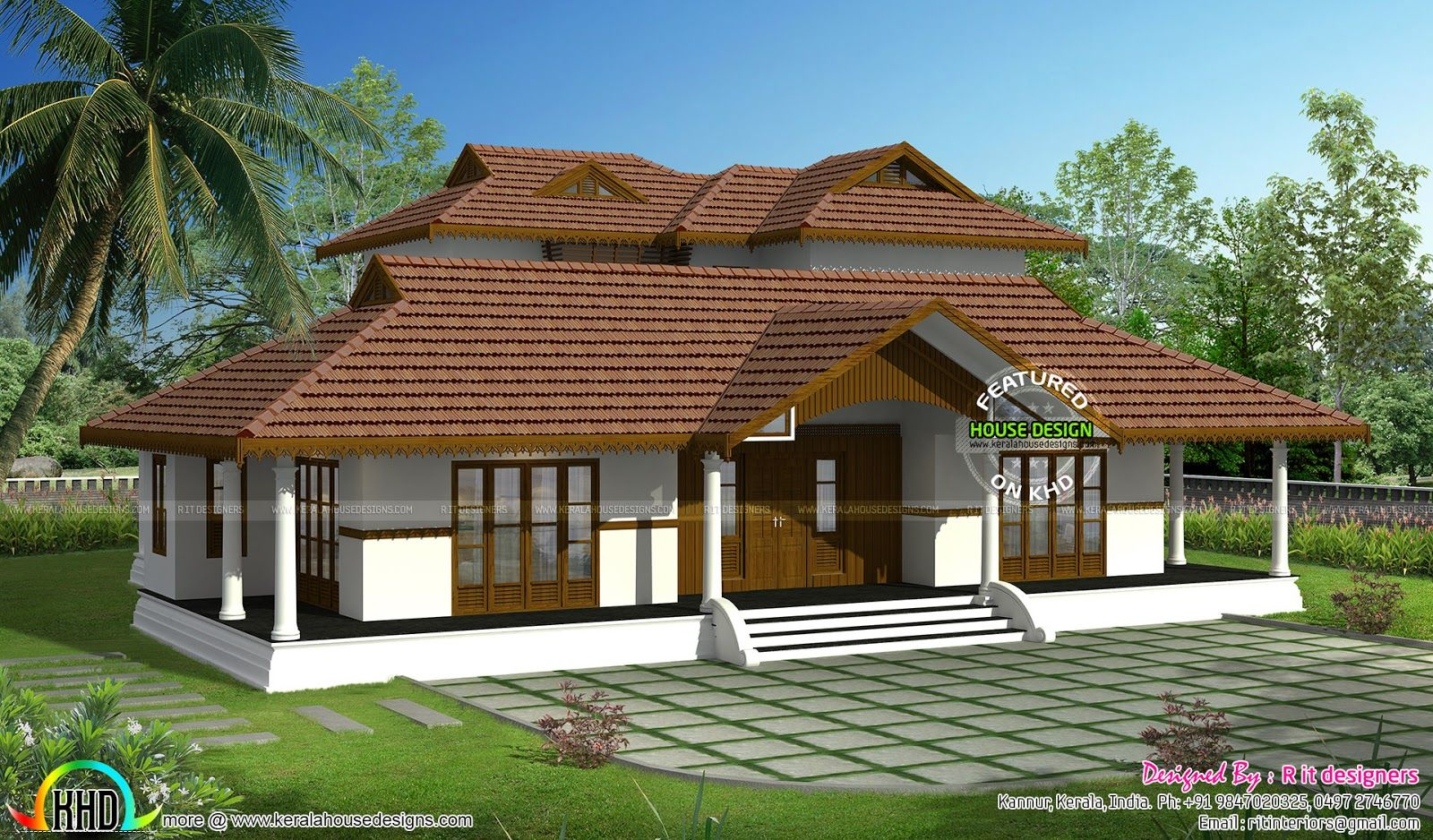 Kerala traditional home with plan nalukettu plans single for Kerala style single storey house plans