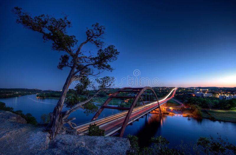 Pennybacker Bridge at Dusk. Pennybacker Bridge located in Austin Texas. Finished ,