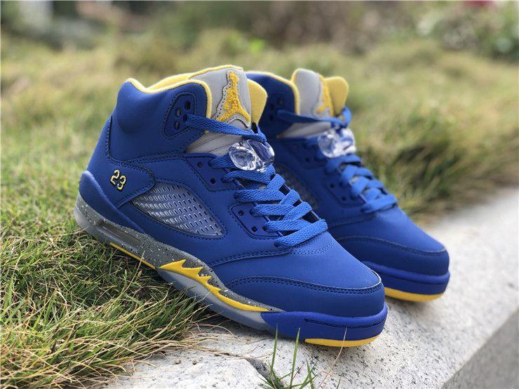 hot sale online 0106a 61d83 2019 New Air Jordan 5 Retro GS Blue Yellow Girls Shoes ...