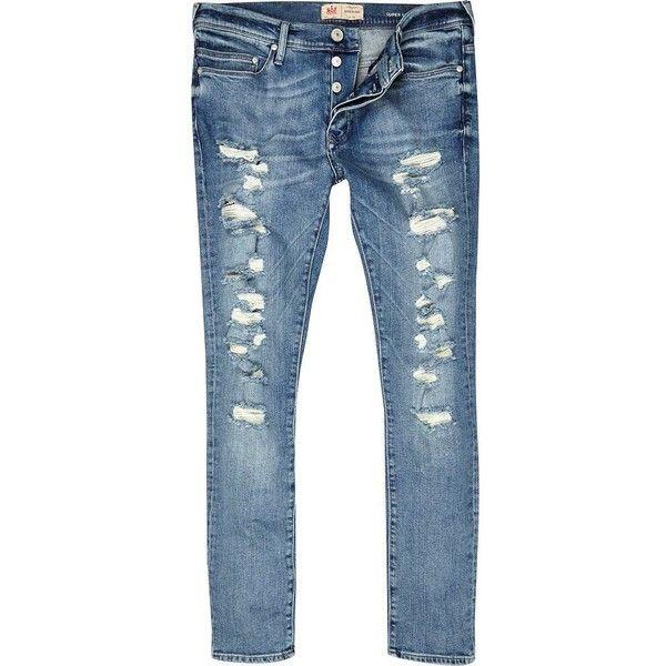Mens Light Blue Danny super skinny ripped jeans River Island eSKqvCNDEm