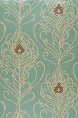 Nouveau wallpaper. The color palette is nice but I am pinning for the heart-shaped pattern plus the beaded edge of the feathers. Maybe I can incorporate something similar in my mural.