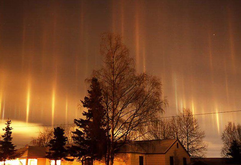 Light pillars are a common sight around cities in winter  Urban