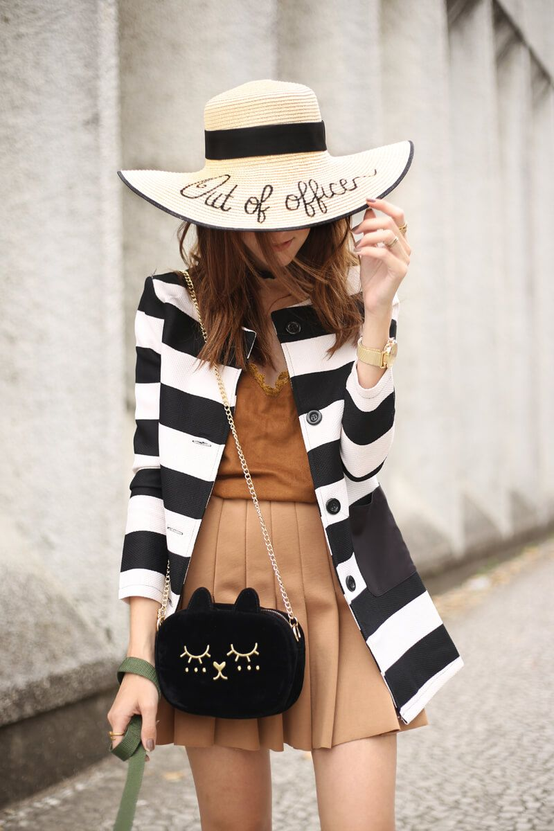 Weekend outfits asks for comfy pieces but still with style. So I chose a black and white striped coat with camel skirt and oxfords.