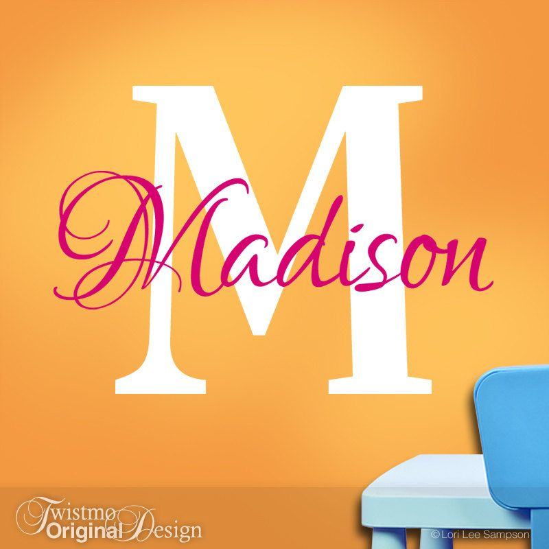 Girls Wall Name Decal, Girls Monogram Vinyl Wall Decals, Custom Name ...