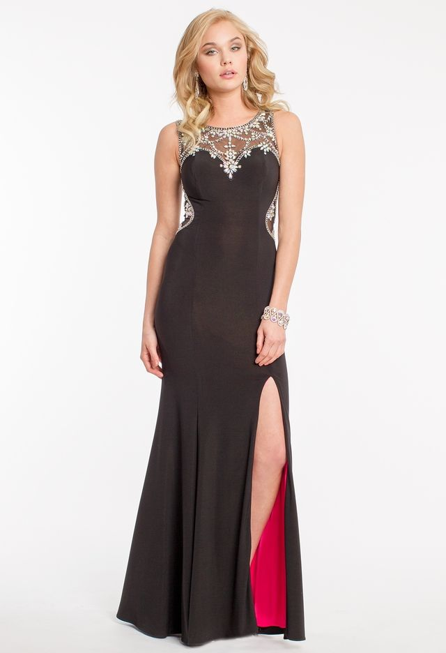 Jersey Beaded Dress with Illusion Back from Camille La Vie and Group ... 1ec9bc860