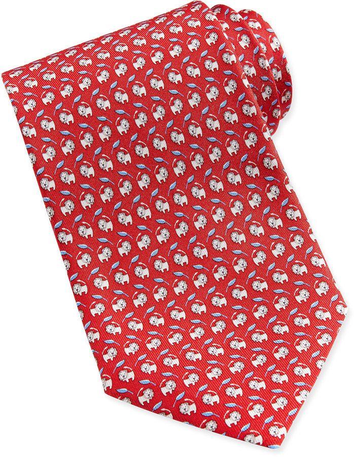 094300227c6e Salvatore Ferragamo Lion-Print Woven Tie, Red | Ties | Lion print ...