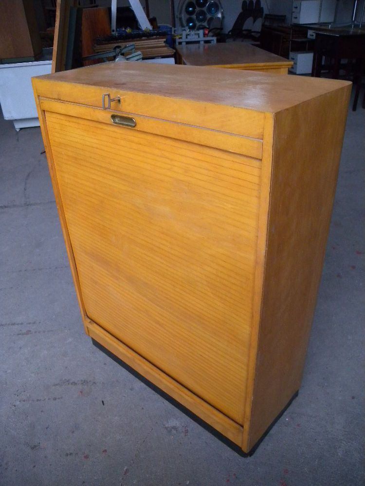 Vintage Art Deco Rolladenschrank Rollschrank Planschrank Buroschrank