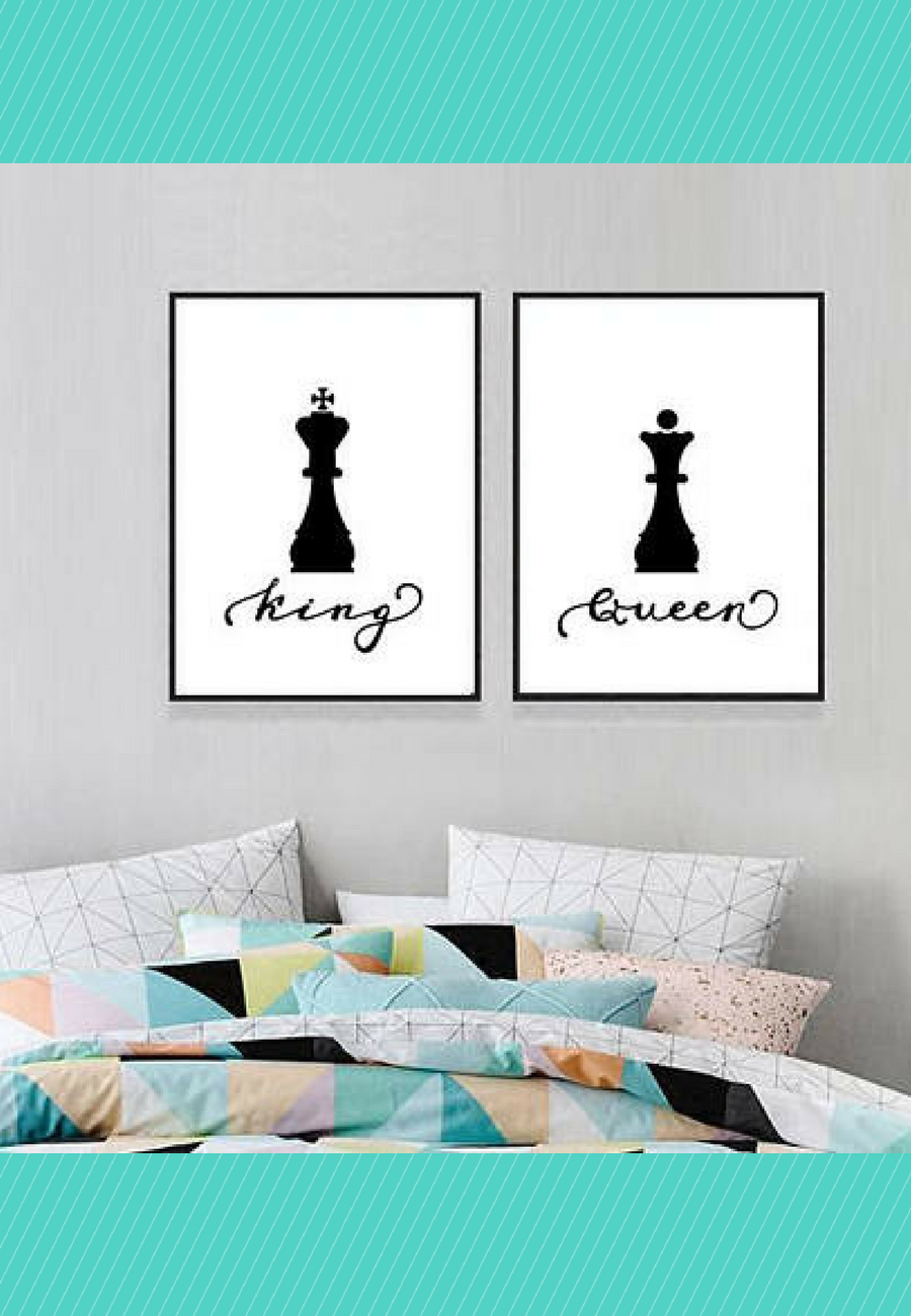 Minimal wall art print King and Queen chess pieces