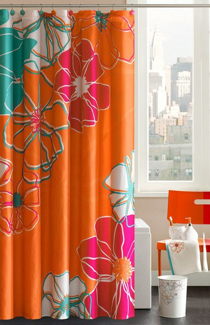 Madison Park Valencia Cotton Shower Curtain Great Complimentary Colors With The Bold Orange Fabric Shower Curtains Shower Curtain