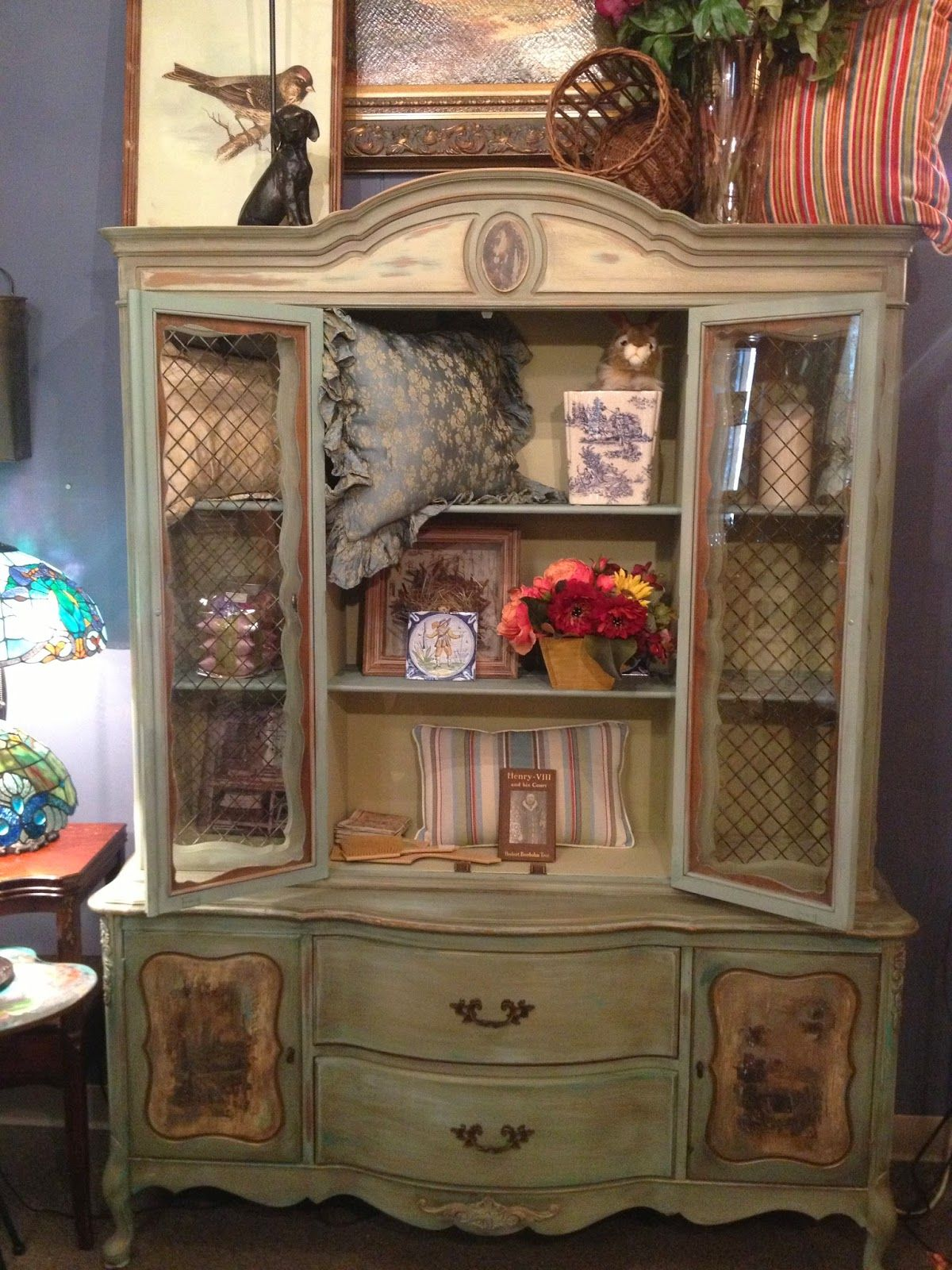 Beautiful Cabinet Hutch Painted In Several Colors Of Chalk Paint Decorative Paint By Annie