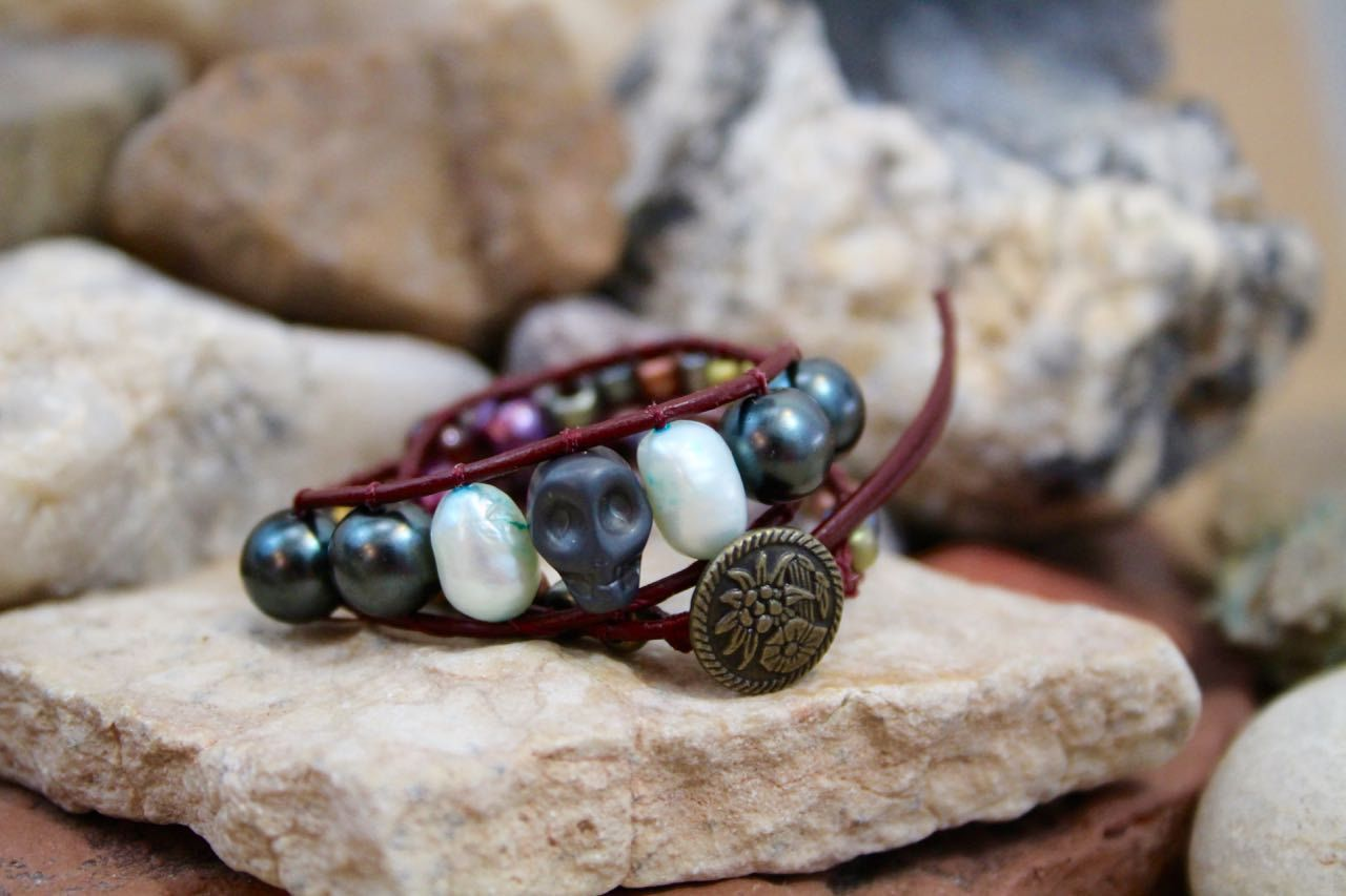The Pearl Peddler - Single Wrap Leather Bracelet with Pearls & Vintage Beads by Leftovers4Dinner on Etsy