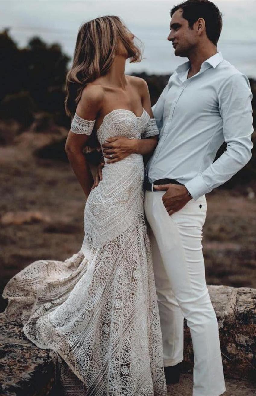 2019 的 Mermaid Sweetheart Sweep Train Lace Beach Wedding Dress Boho ... f0007c872f8b