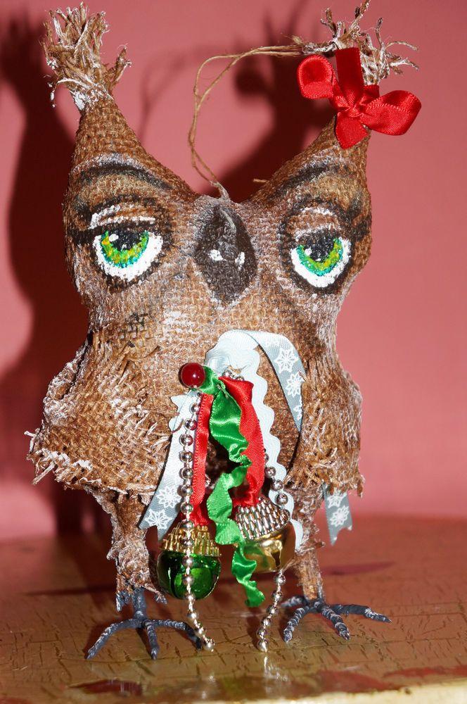 Primitive Folk Art Doll Christmas Owl that smells like cinnamon and coffee !