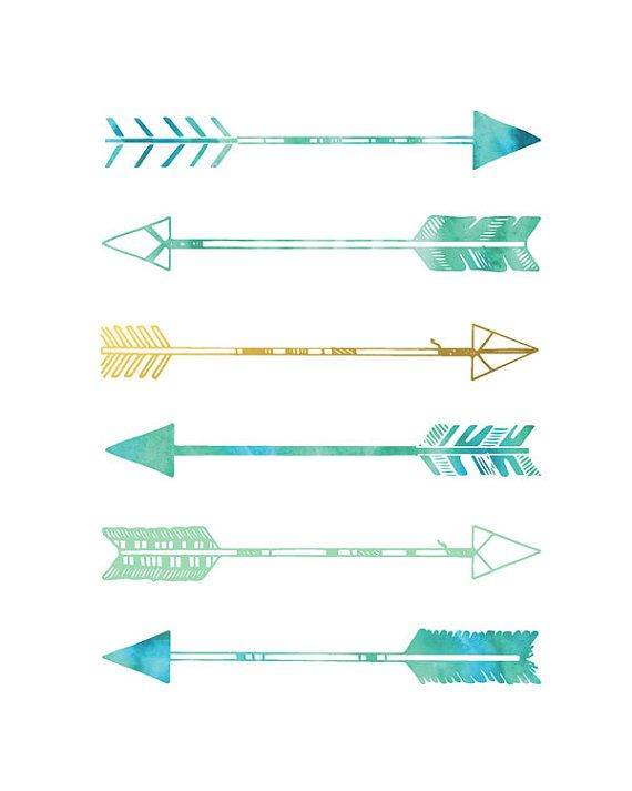 arrows print teal and gold green blue and gold arrows wall art