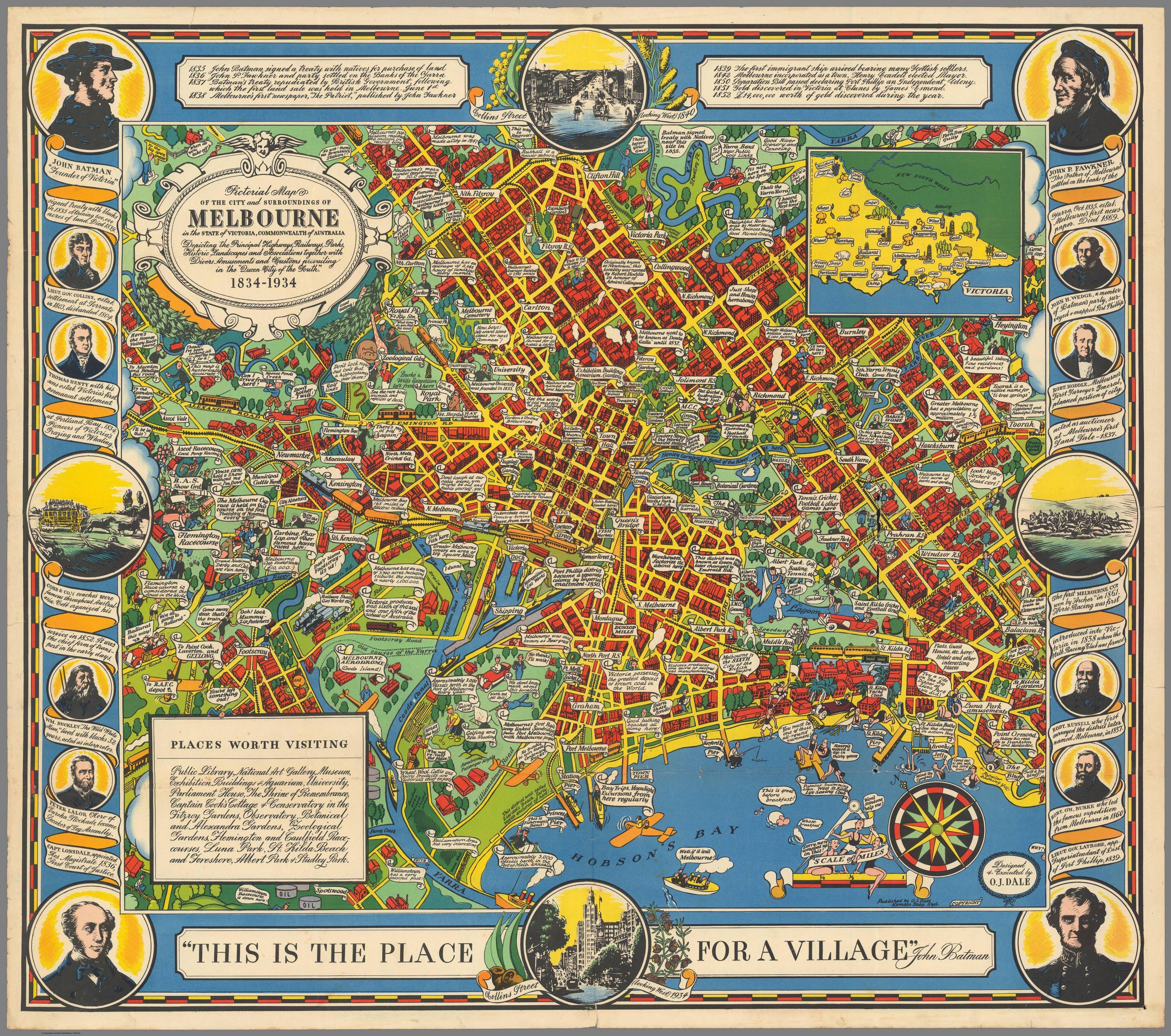 1934 Pictorial Map of Melbourne, Victoria   Maps of Australia ...