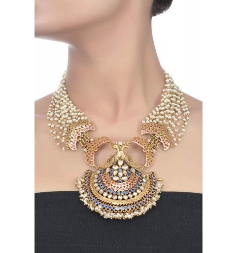 dbfdd9888d5 Gorgeous silver peacock design multi strand pearl necklace. Indian bridal jewellery  design.