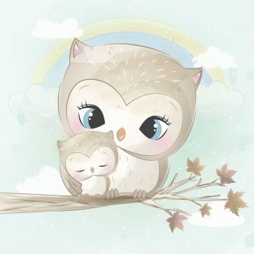 Cute Owl With Watercolor Effect, Watercolor, Baby, Love PNG and Vector with Transparent Background for Free Download
