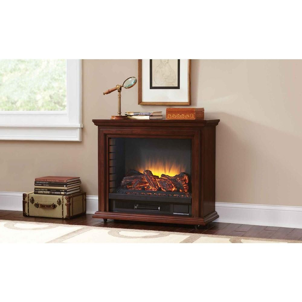 Pleasant Hearth Sheridan 31 In Mobile Electric Fireplace In Cherry