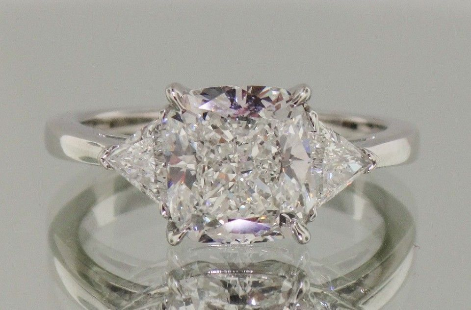 Josh Levkoff Collection Rings 492 Cushion Cut 3 Stone Ring