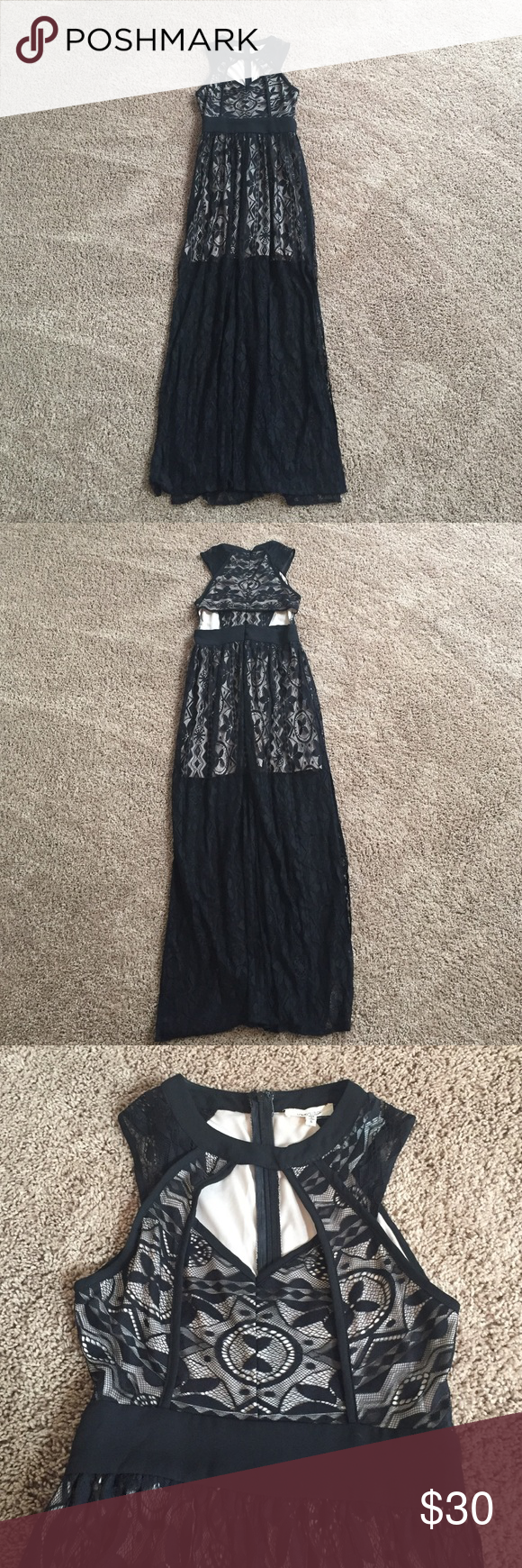 Long gown dress with black lace the beautiful long dress has black