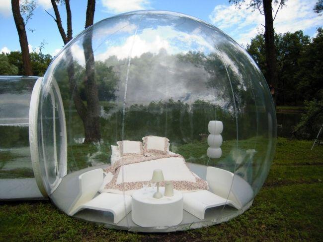 Das aufblasbare mobile Badezimmer Bubble zeigt die zukünftigen ...