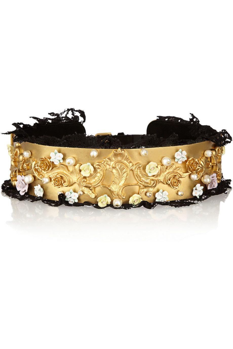 Dolce & Gabbanafloral and Swarovski pearl-embellished gold-tone belt