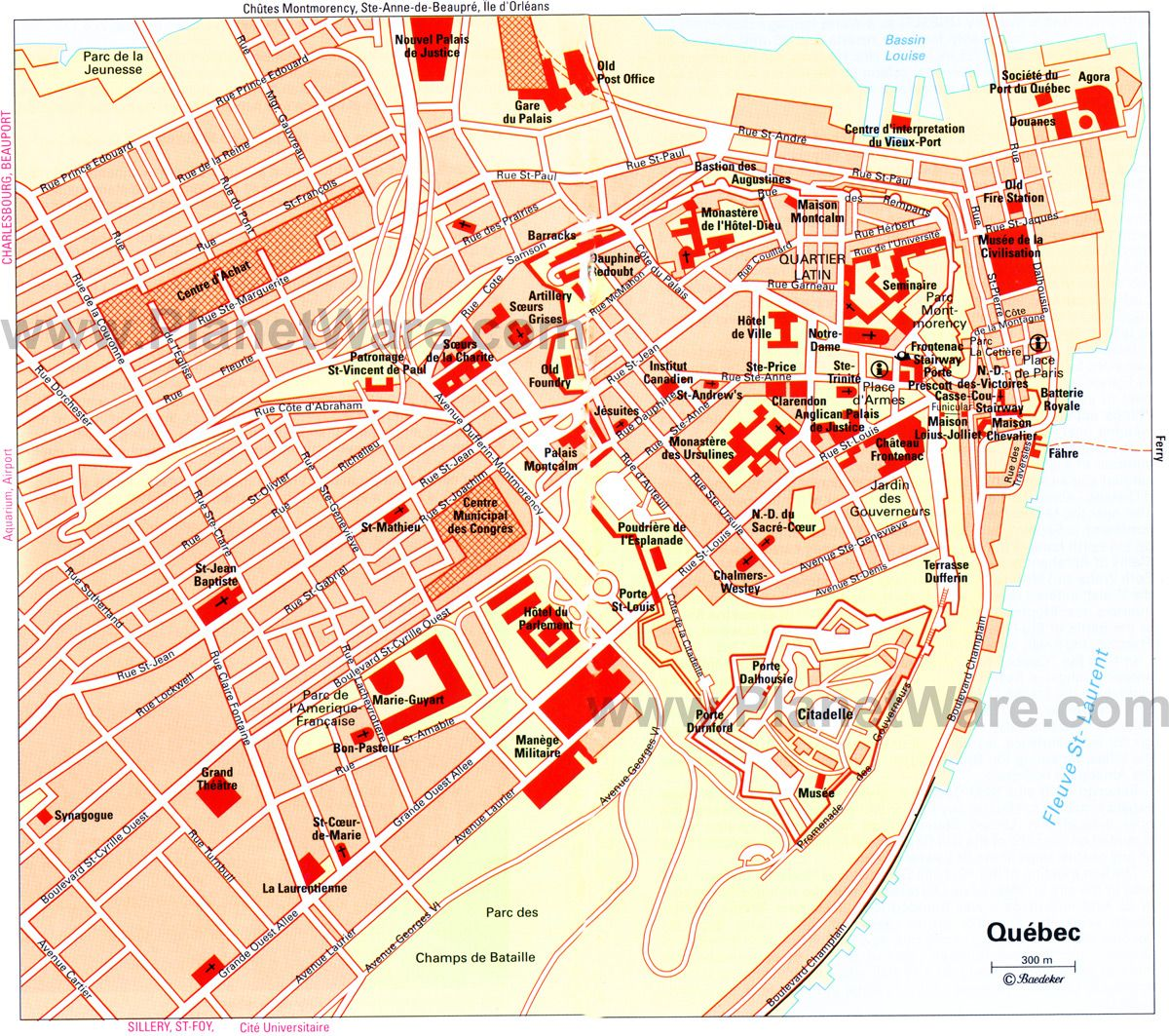 Map of Quebec City Attractions PlanetWare Quebec Pinterest