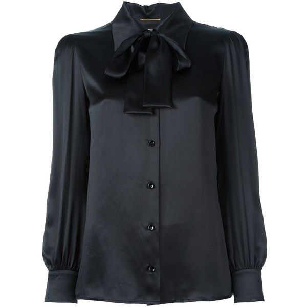 6de534bda821 Saint Laurent pussybow blouse ($1,295) ❤ liked on Polyvore featuring tops,  blouses, black, bow collar blouse, long sleeve tops, bow neck blouse, silk  tops ...