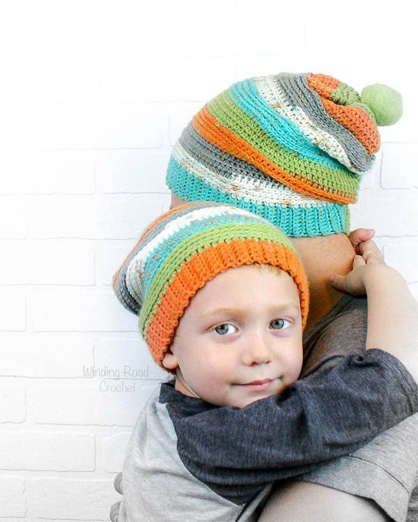 1457584e6e5 The Daddy and Me slouch Beanie is an easy free crochet pattern. If you know  the basic stitches and how to decrease you are good to go.