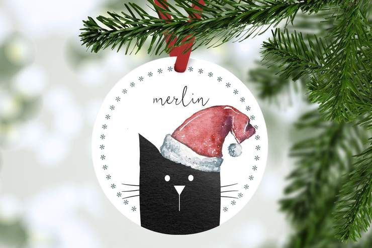 Personalized Christmas ornament for cat Custom pet Christmas bulb Holiday gift for pet lovers