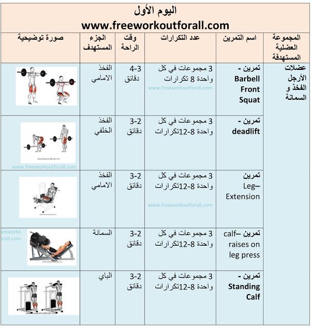 جدول تمارين كمال اجسام 5 أيام Bodybuilding Body