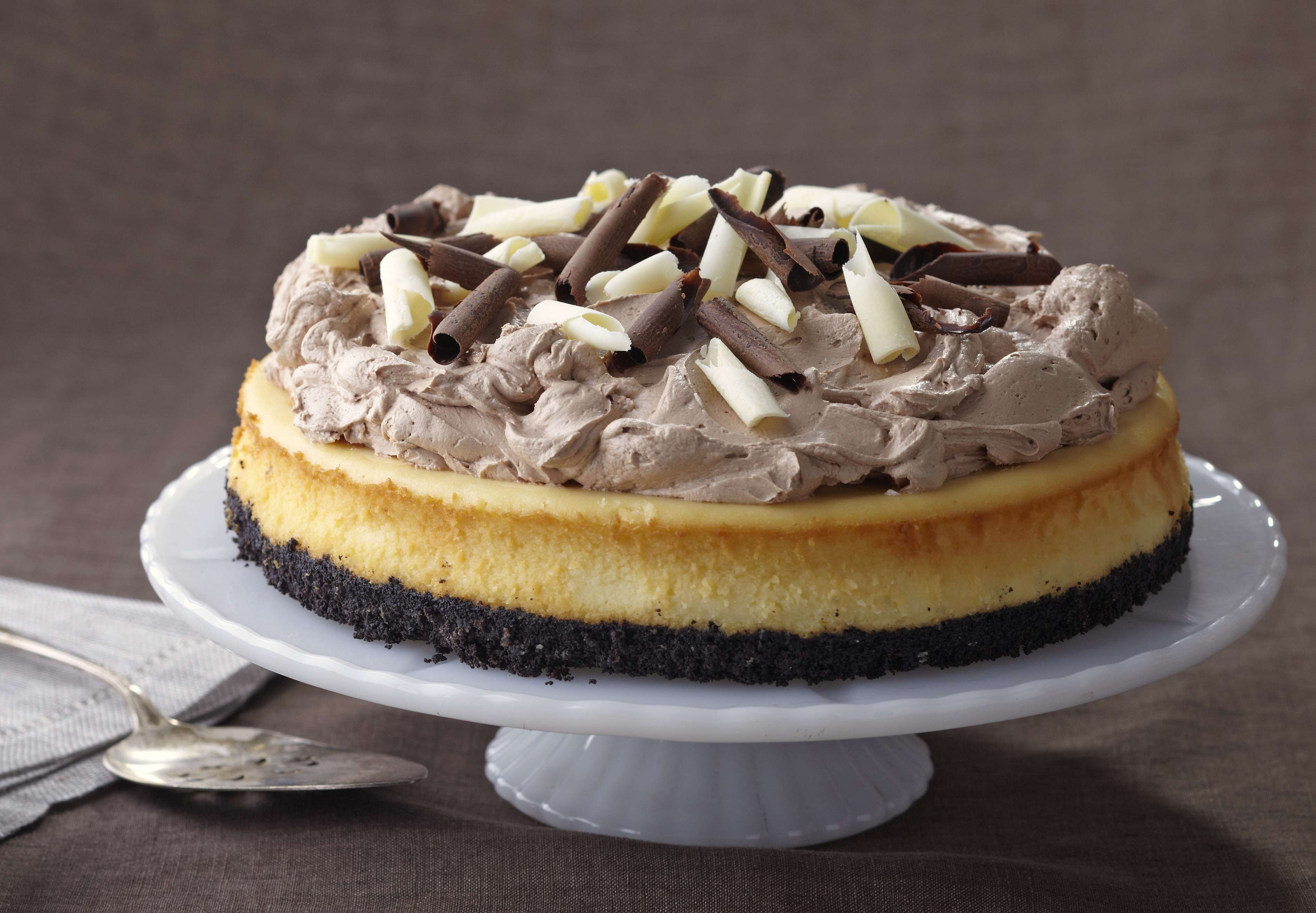 this heavenly cheesecake recipe has not one not two but three types of chocolate it 39 s the. Black Bedroom Furniture Sets. Home Design Ideas