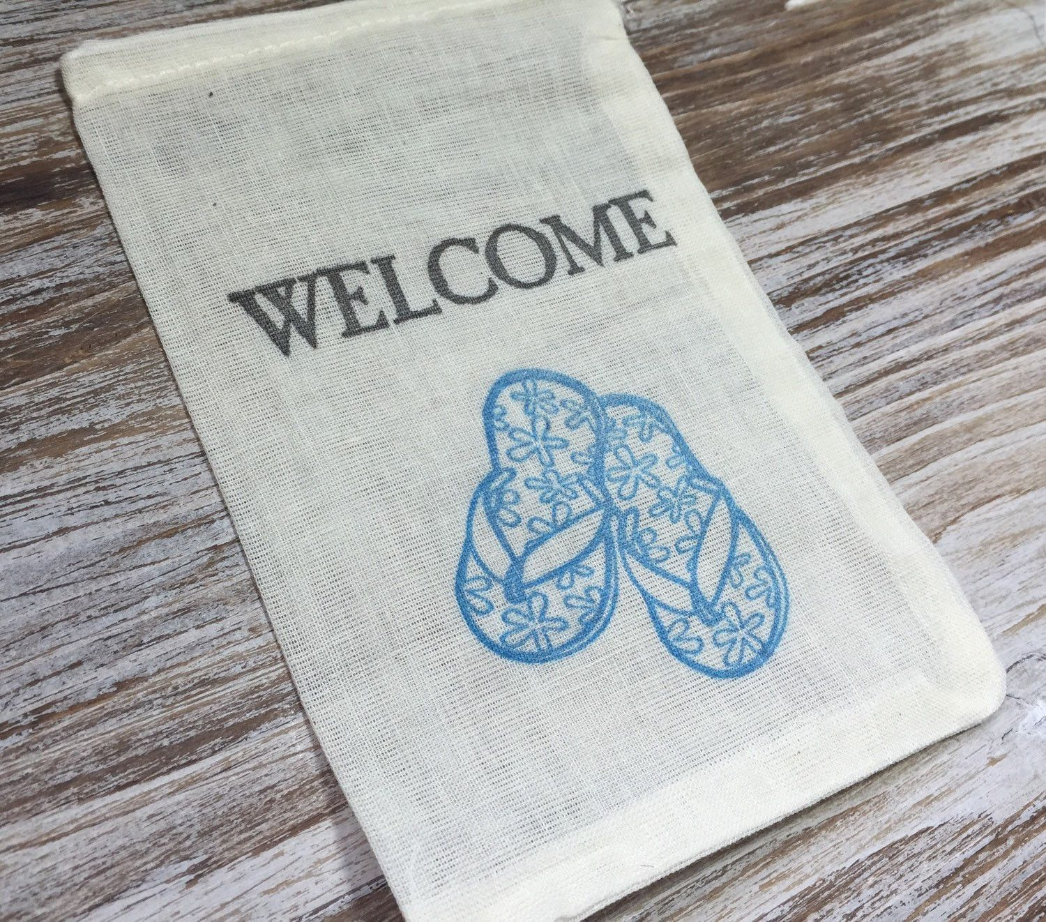 10 beach wedding welcome favor bags, flip flop favor bags ...