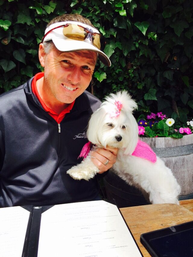 Lunch with Daddy!  I get to set at the grown up table!  Pet friendly on Cali!