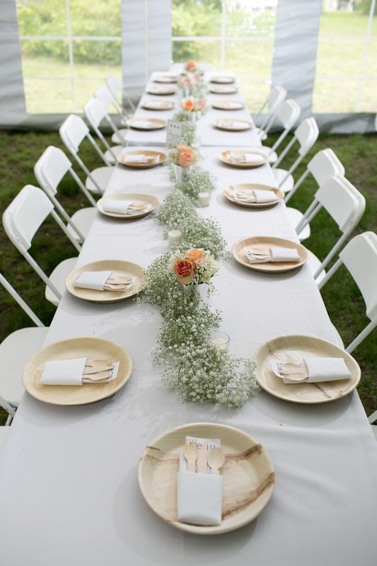 table ideas wedding reception tablescape featuring a babys breath table runner and eco friendly tableware