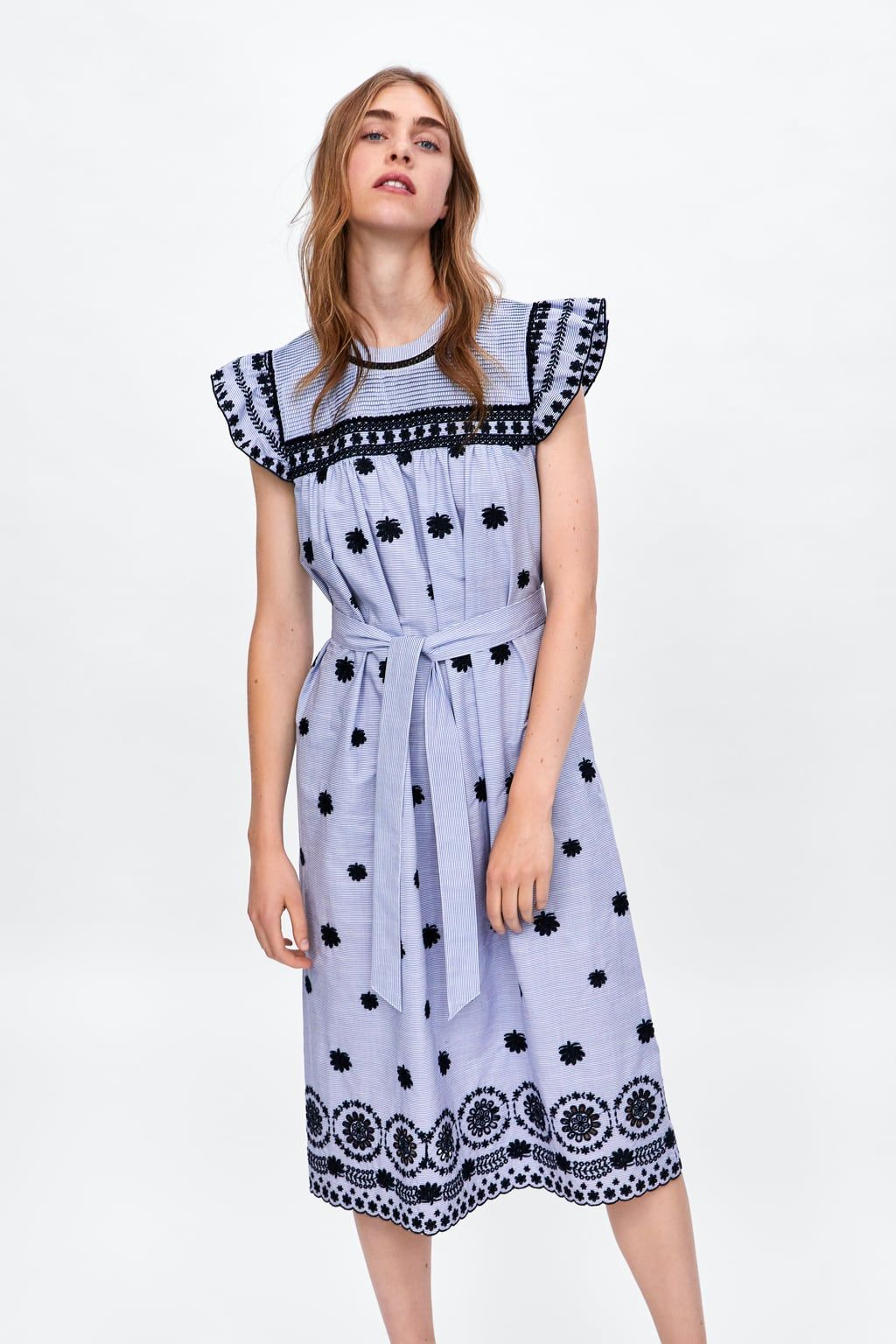 image 3 of striped dress with embroidery from zara