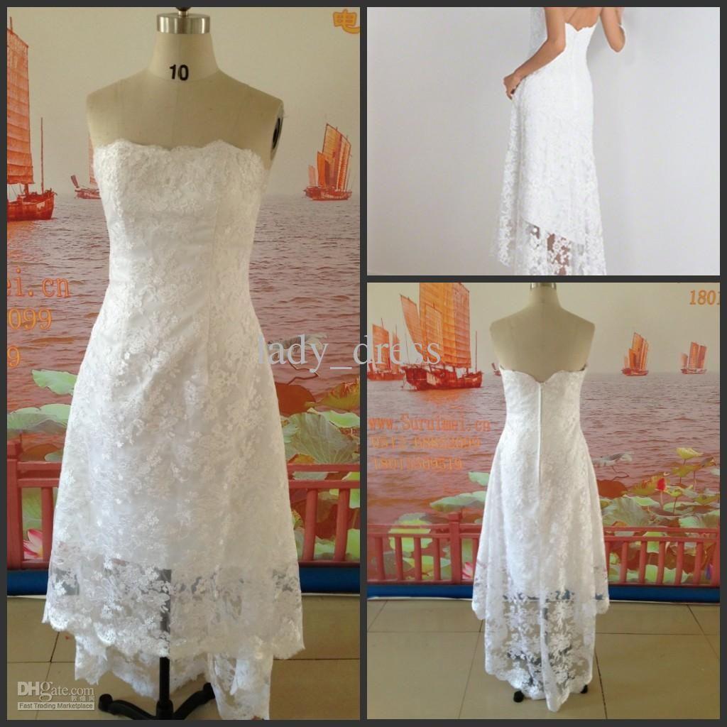 Cheap wedding dress discount short front long back white casual