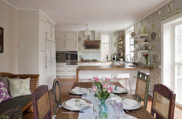 Nagy, tágas konyha, konyhaszigettel, étkezővel. Tapéta: DESIGNERS ...