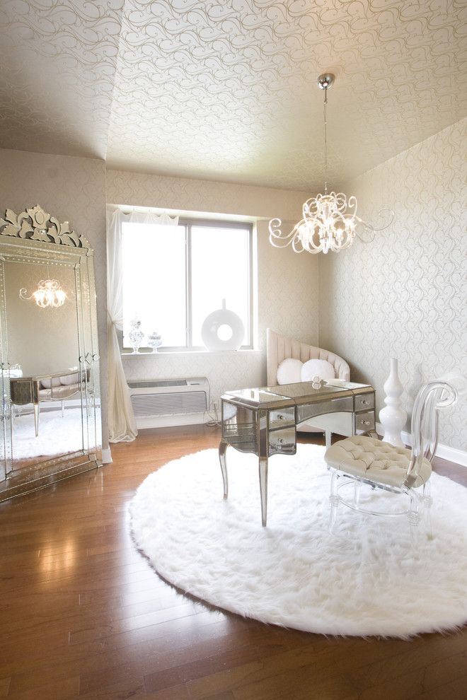 White Shaggy Rug Lucite Chair Mirrored Desk With Girly Chandelier. Sumptuous  Design Inspiration ...