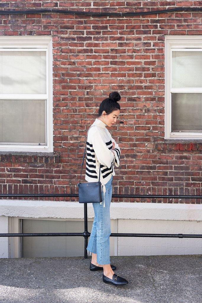 Transitional Outfit: Joie Knit & Gucci Brixton loafers