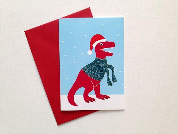 Dinosaur Christmas Card, Trex Christmas card, funny christmas card ...