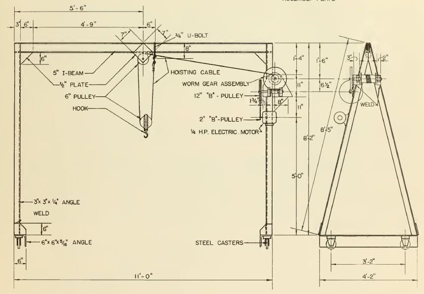Build an overhead hoist crane metal pinterest for Shop hoist plans